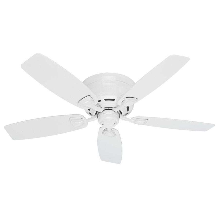 Most Current Shop Hunter Sea Wind 48 In White Indoor/outdoor Flush Mount Ceiling Regarding White Outdoor Ceiling Fans (View 8 of 20)