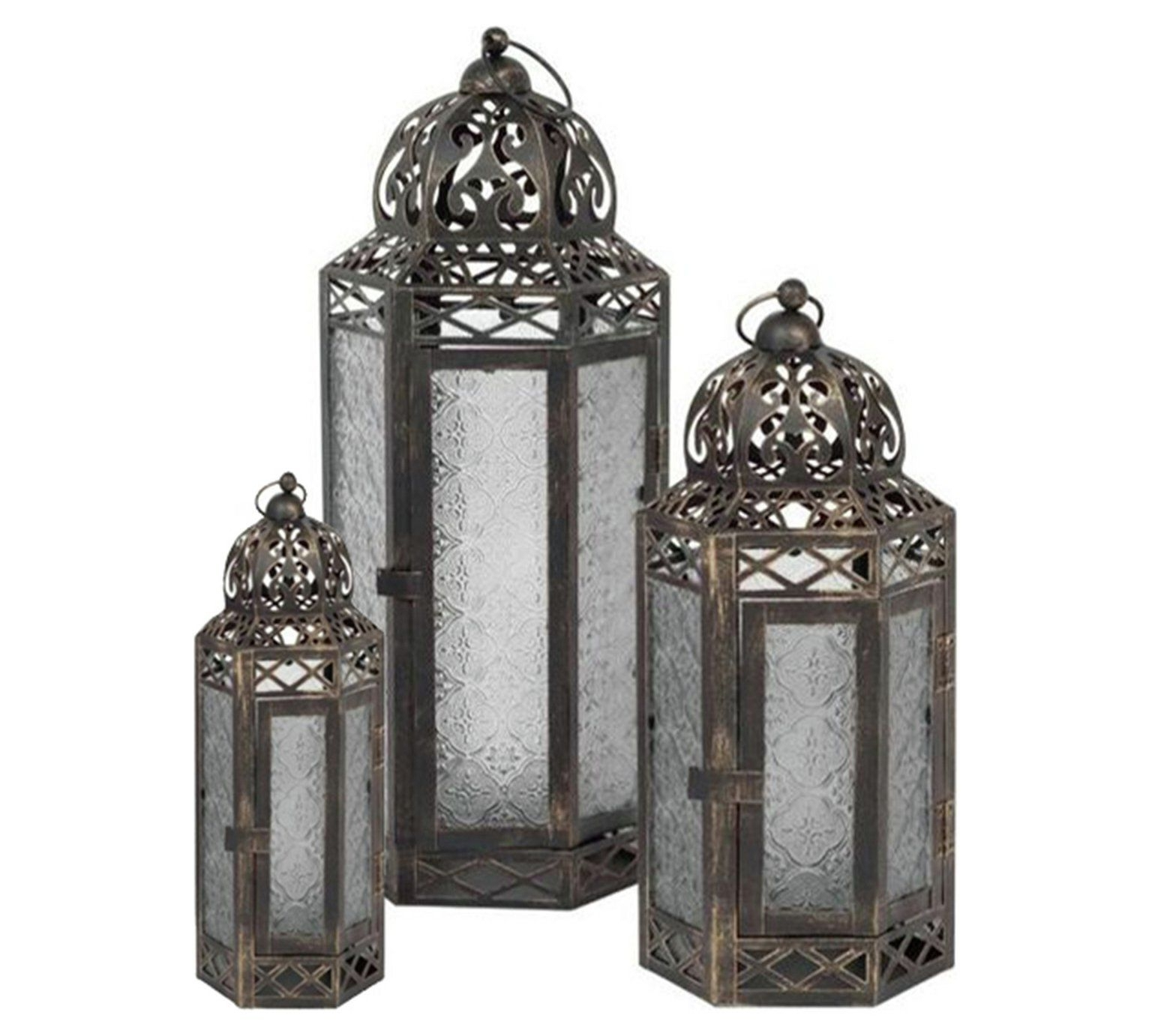 Most Popular Buy Gold Brush Effect 3 Set Lantern At Argos.co.uk, Visit Argos (View 9 of 20)
