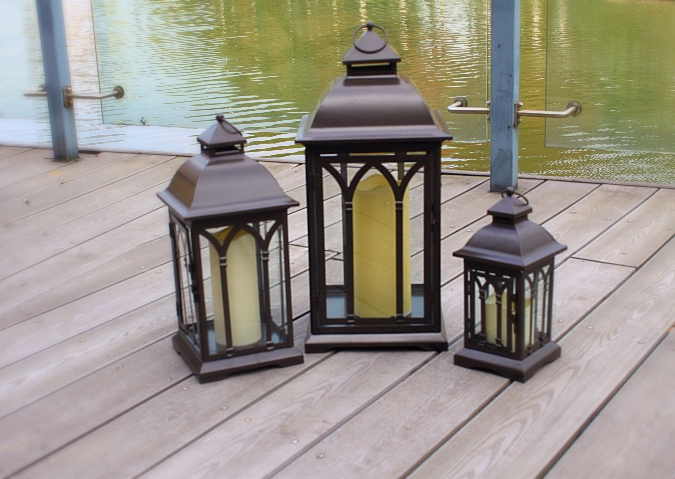 Most Popular Exclusive Indoor Or Outdoor Set Of 3 Lombard Patio Lanterns Throughout Outdoor Metal Lanterns For Candles (View 19 of 20)
