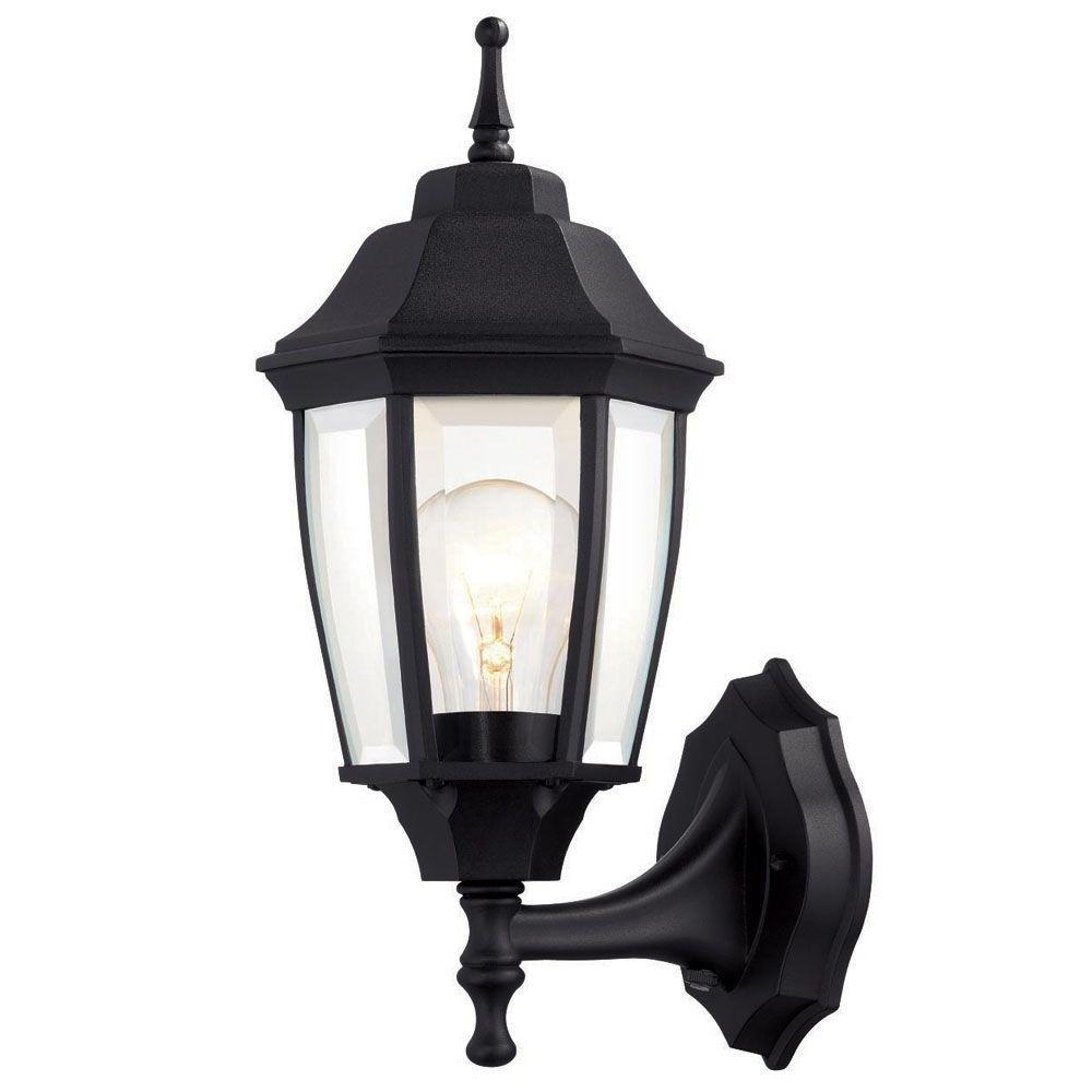 Most Popular Hampton Bay 1 Light Black Dusk To Dawn Outdoor Wall Lantern Bpp1611 For Outdoor Lamp Lanterns (View 2 of 20)