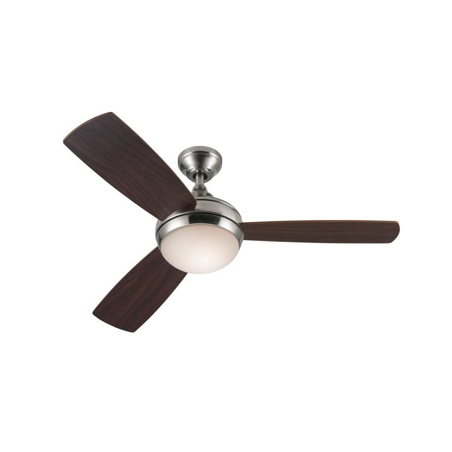Most Popular Harbor Breeze 44 In Harbor Breeze Sauble Beach Brushed Nickel Inside Brushed Nickel Outdoor Ceiling Fans With Light (View 17 of 20)