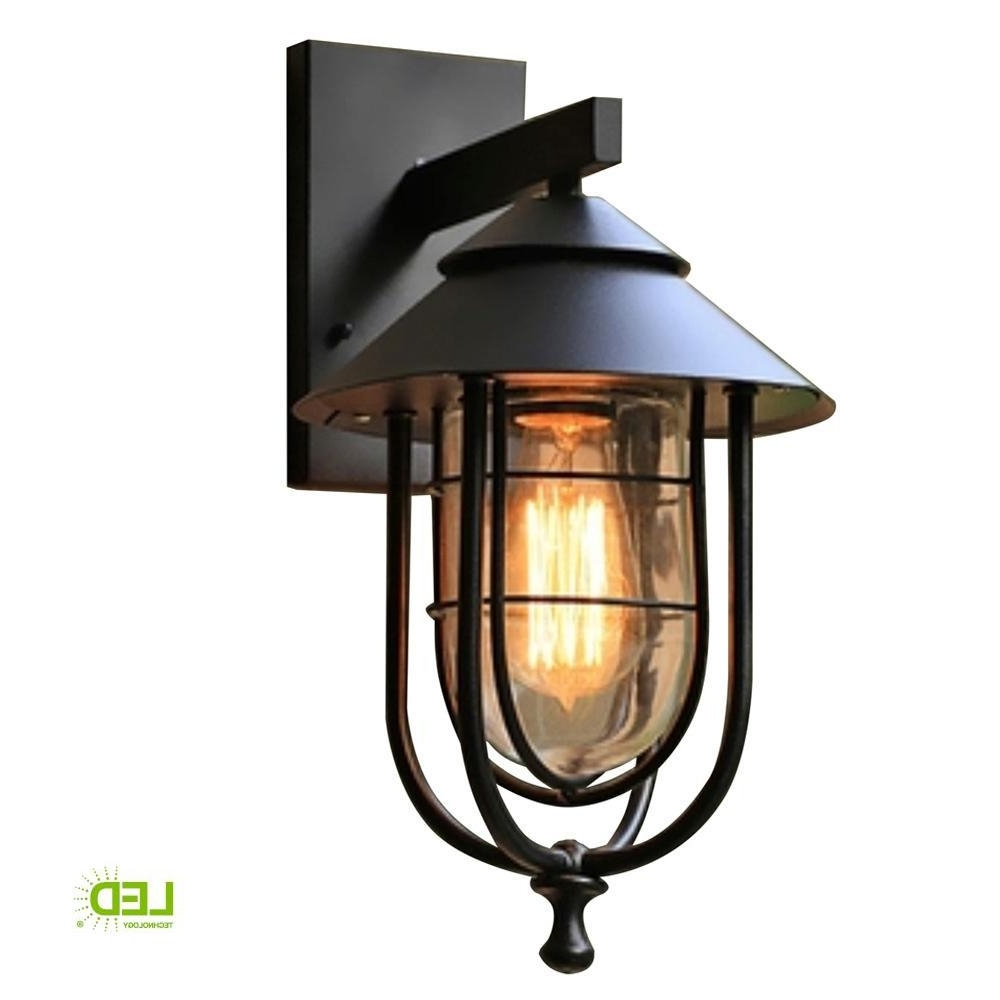 Most Popular Home Decorators Collection 1 Light Sand Black Large Outdoor Wall In Large Outdoor Wall Lanterns (View 13 of 20)