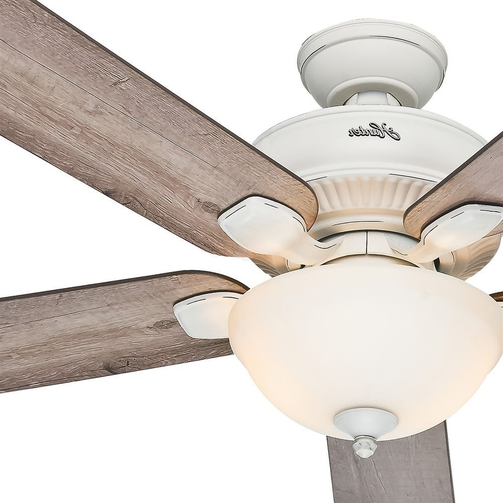 "Most Popular Hunter Outdoor Ceiling Fans With White Lights With Hunter 52"" Cottage White Outdoor Ceiling Fan With Grey Pine Blades (View 15 of 20)"