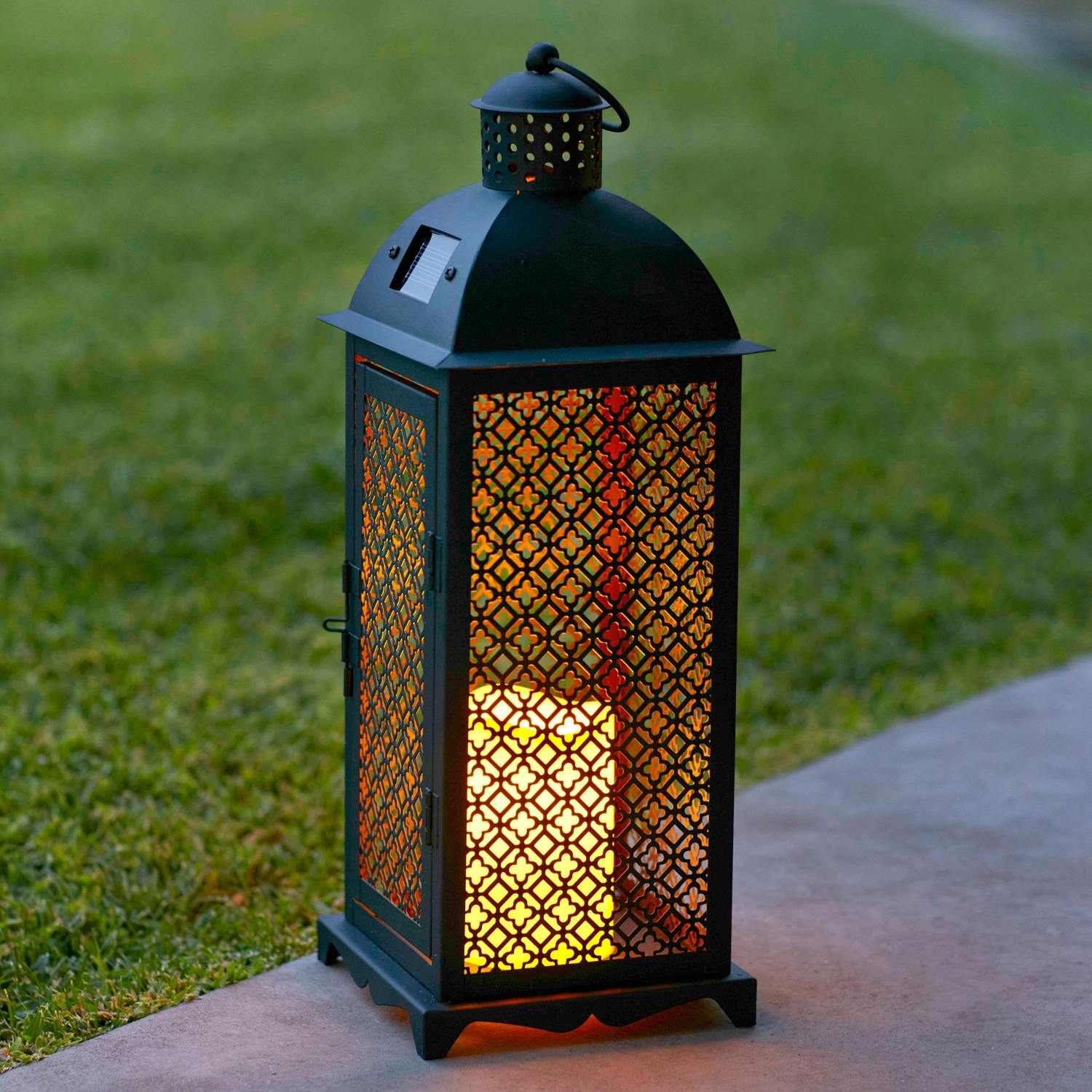 Most Popular Lights4Fun, Inc.: Moroccan Solar Powered Led Garden Flameless Candle Regarding Moroccan Outdoor Electric Lanterns (Gallery 6 of 20)