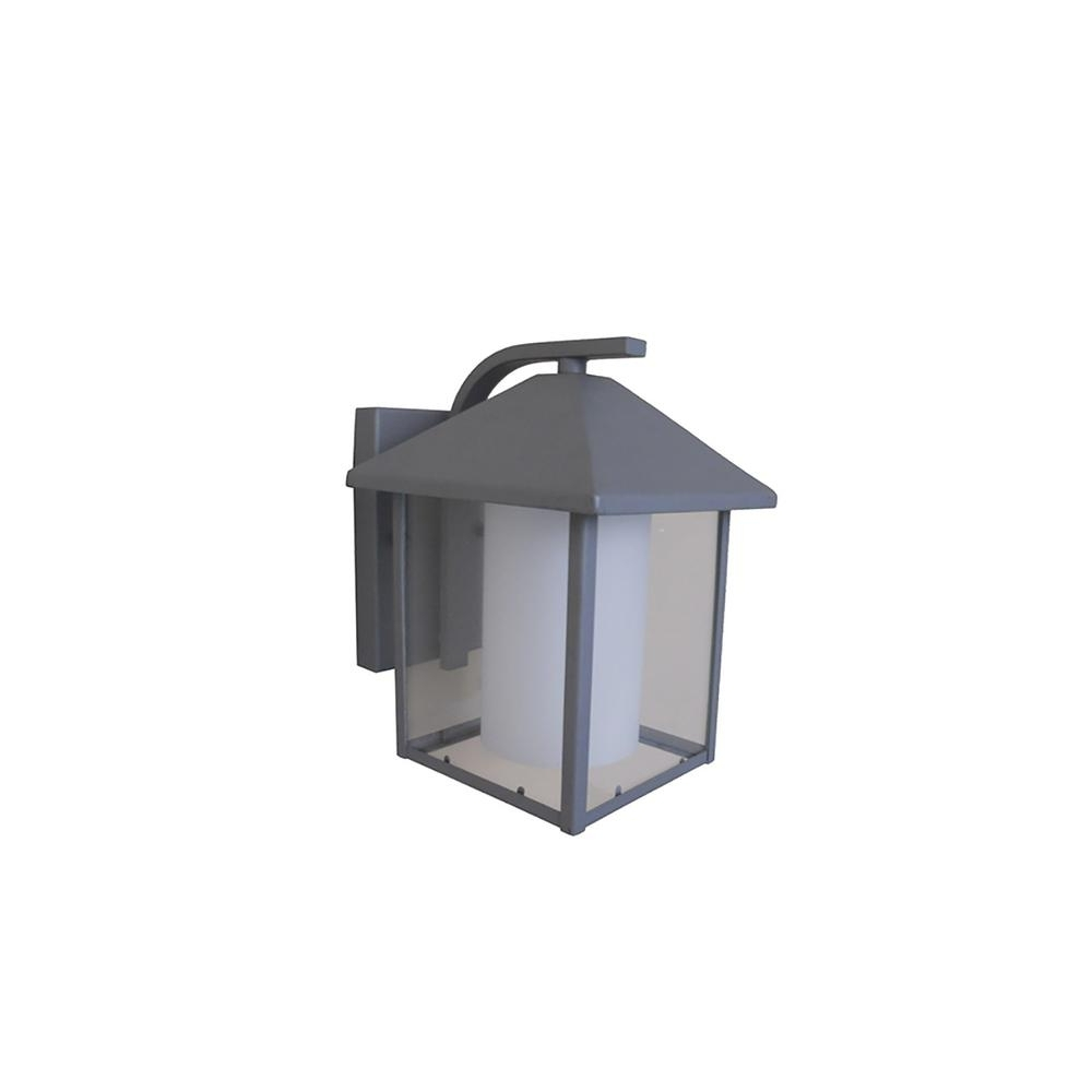 Most Popular Outdoor Grey Lanterns In 1 Light Silver Grey Outdoor Wall Lantern Ledowl322sg – The Home Depot (View 6 of 20)