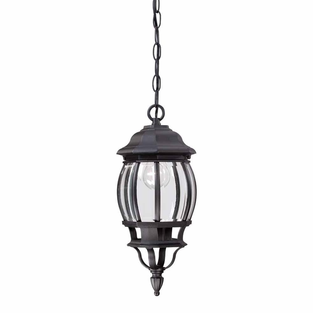Most Popular Outdoor Hanging Electric Lanterns Throughout Hampton Bay 1 Light Black Outdoor Hanging Lantern Hb7030 05 – The (View 10 of 20)