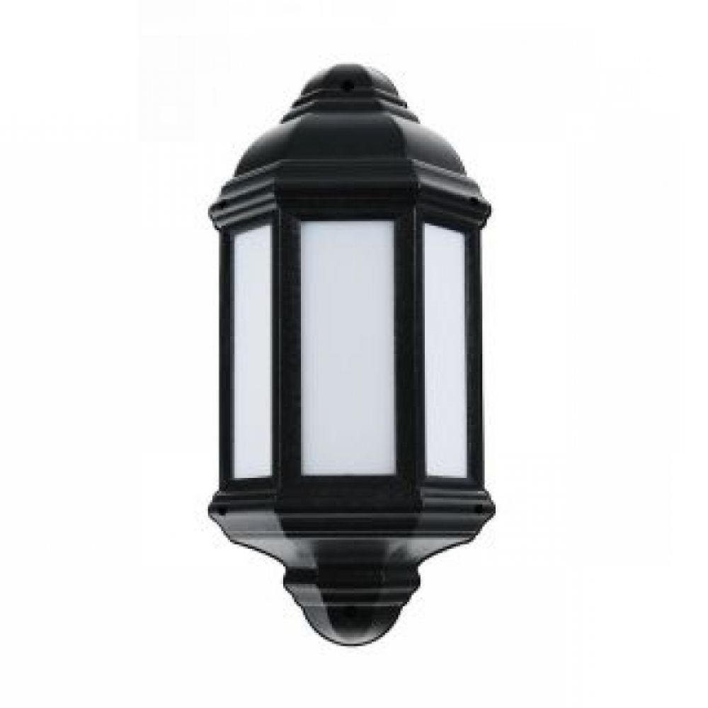 Most Popular Outdoor Lanterns With Led Lights Inside Black 7 Watt Outdoor Half Lantern Led Light Fitting – Argyll (View 8 of 20)