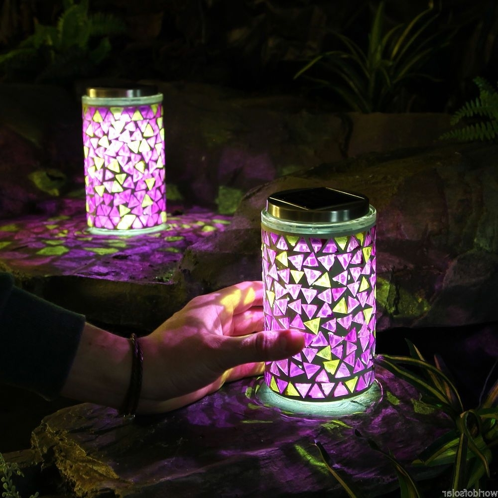 Most Popular Outdoor Mosaic Lanterns Pertaining To 2 Solar Powered Led Mosaic Lanterns Outdoor Garden Multi Colour (View 4 of 20)