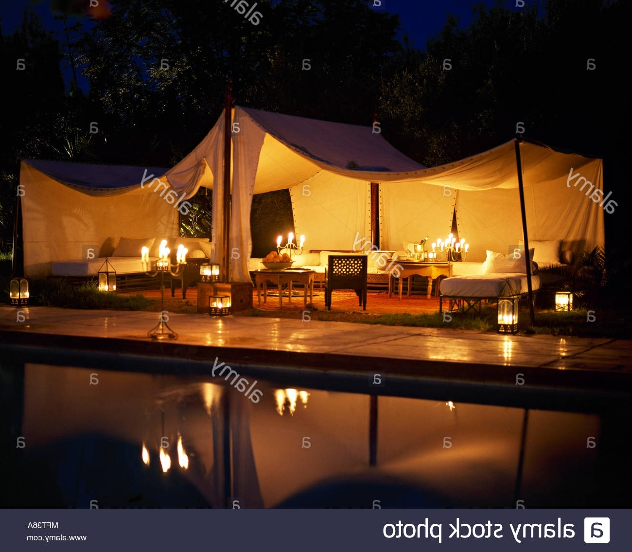 Most Popular Outdoor Pool Lanterns With Regard To Moroccan Hotel Outdoor Entertaining Lit Marquee At Nightpool (View 10 of 20)
