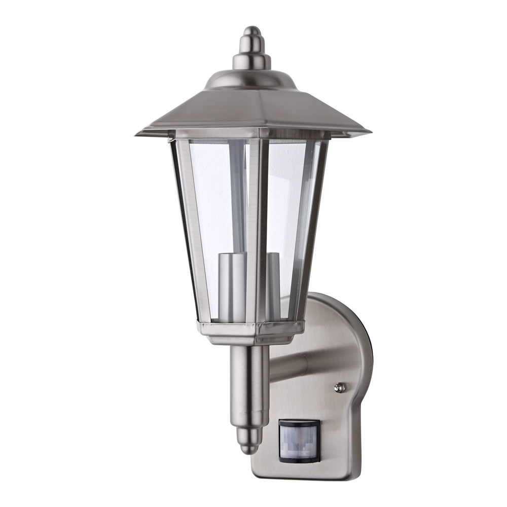 Most Popular Outdoor Traditional Wall Lantern Light – Pir – Stainless Steel Regarding Outdoor Lanterns With Pir (View 7 of 20)