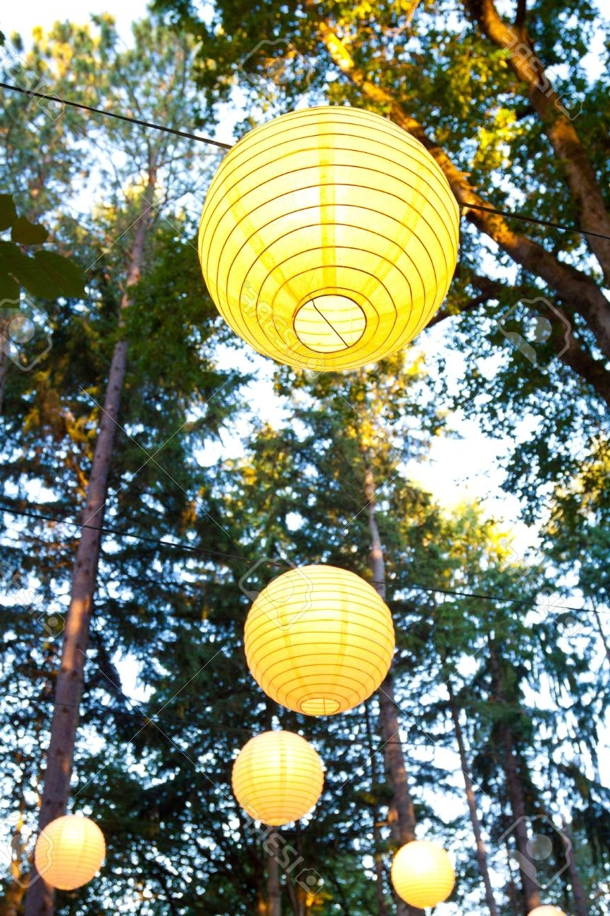 Most Popular Yellow Wedding Decorations Hang From The Trees At A Wedding Ceremony In Outdoor Hanging Japanese Lanterns (View 3 of 20)