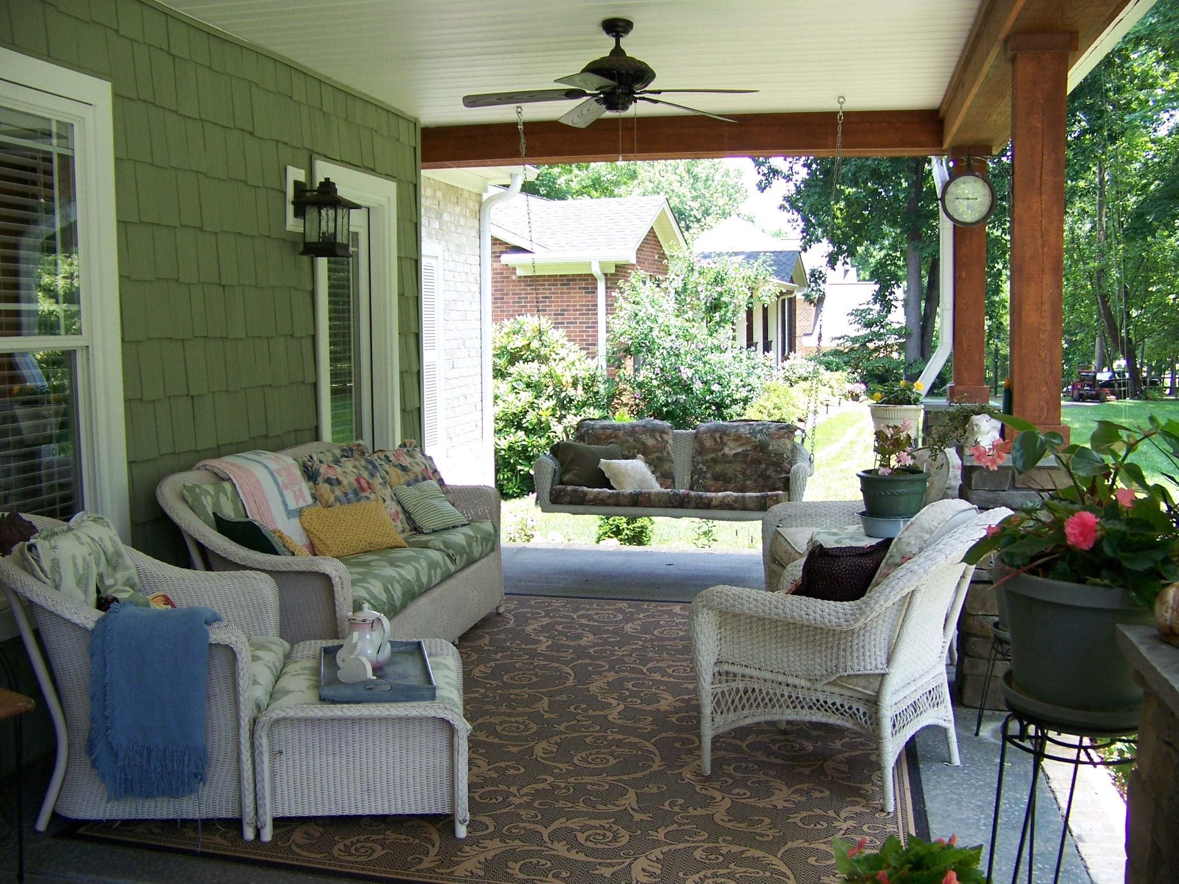 Most Recent Impressive Ceiling Fan Over White Porch Sets On Brown Floral Themes For Vintage Look Outdoor Ceiling Fans (View 20 of 20)