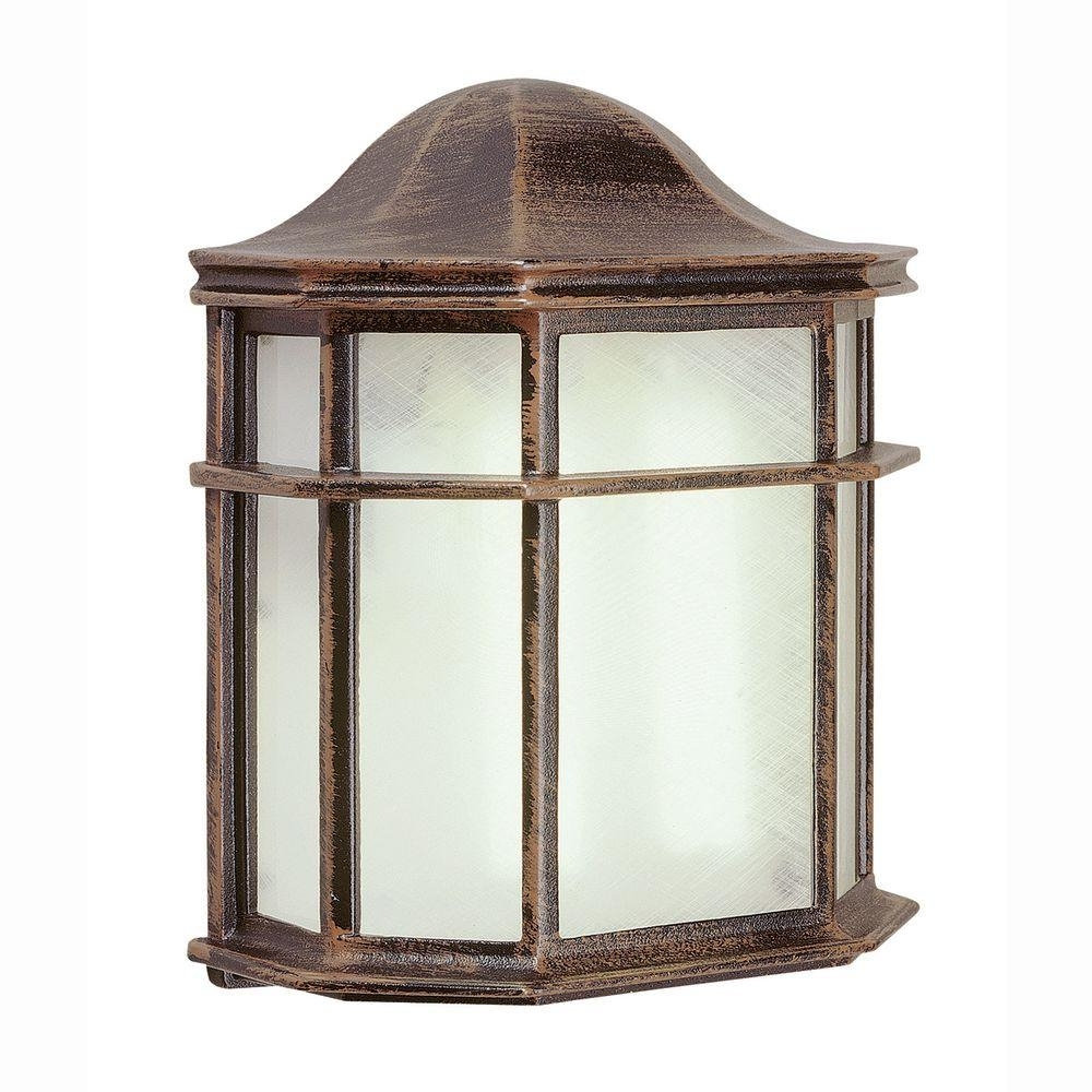 Most Recent Outdoor Big Lanterns Within Bel Air Lighting 1 Light Outdoor Rust Patio Wall Lantern With (View 8 of 20)