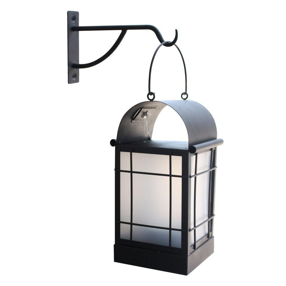 Most Recent Outdoor Solar Lanterns Intended For Moonrays Arched 1 Light Black Outdoor Integrated Led Wall Mount (View 2 of 20)