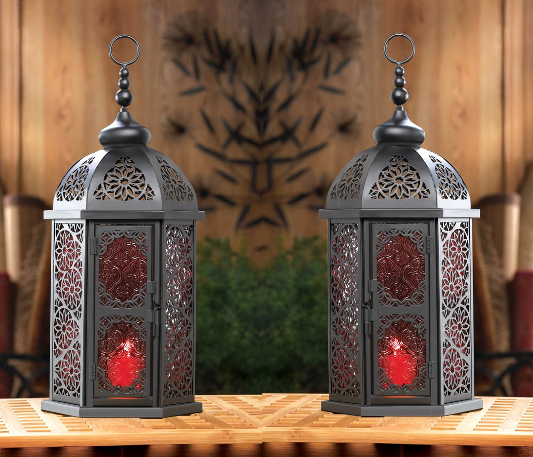 Most Recent Red Outdoor Table Lanterns With Regard To Set Of 2 Large Black Moroccan Lanterns With Vintage Style Red (View 7 of 20)