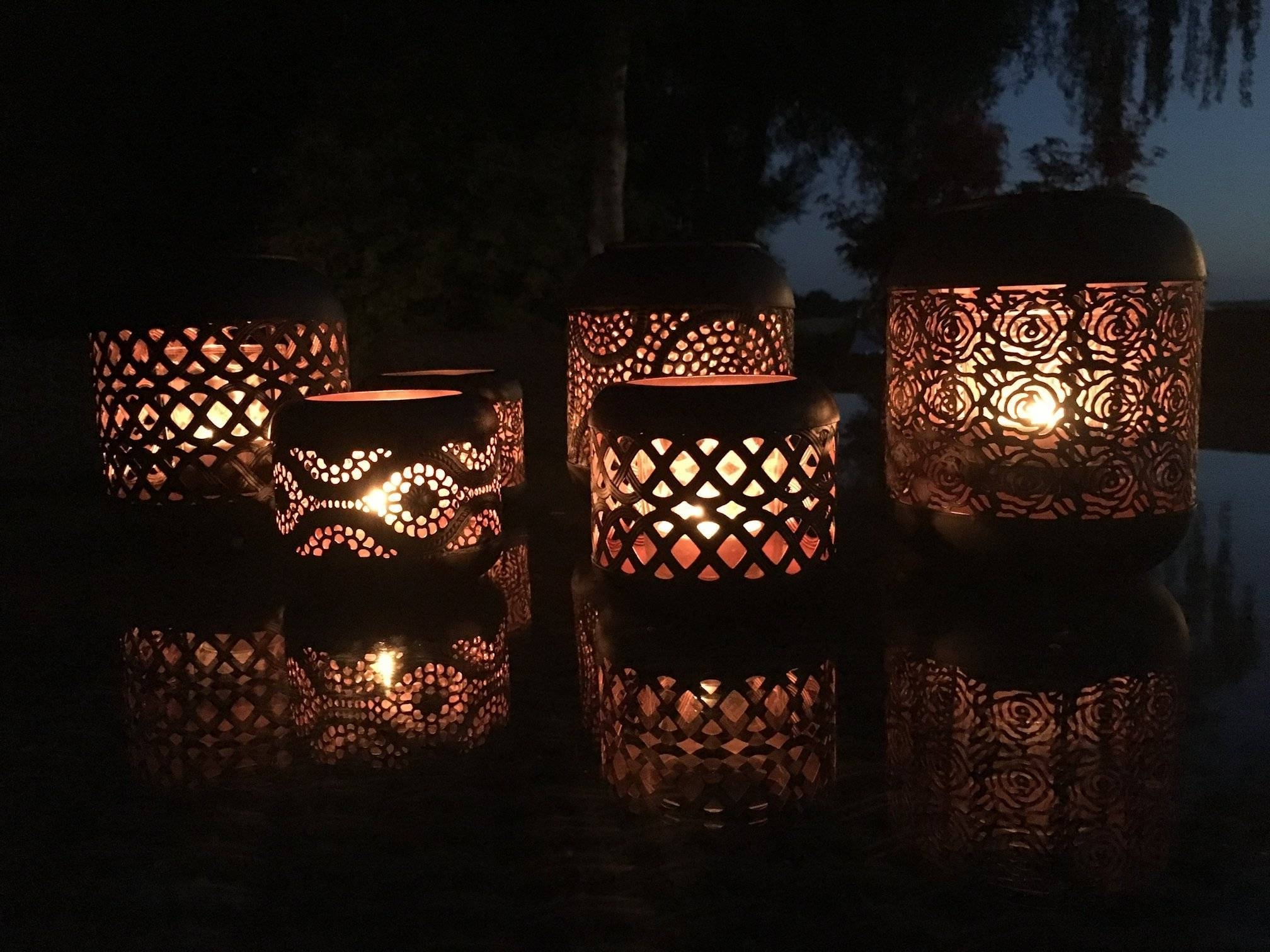 Most Recent Set Of 4 Moroccan Copper Metal Tea Light Candle Holder Garden Lantern Pertaining To Outdoor Tea Light Lanterns (View 7 of 20)