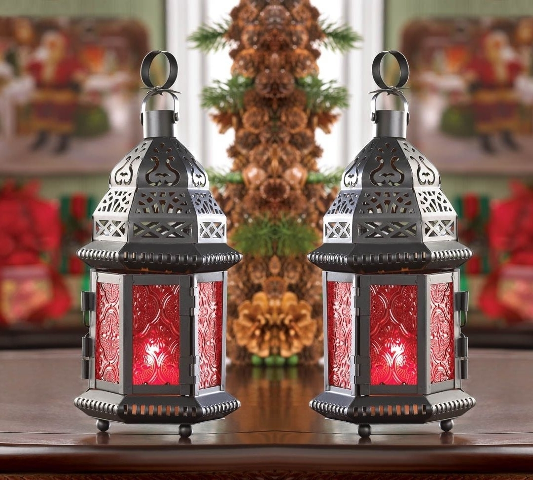 "Most Recently Released 2 Red Moroccan Candle Holder 10"" Tall Lantern Terrace Outdoor Garden In Red Outdoor Table Lanterns (View 5 of 20)"