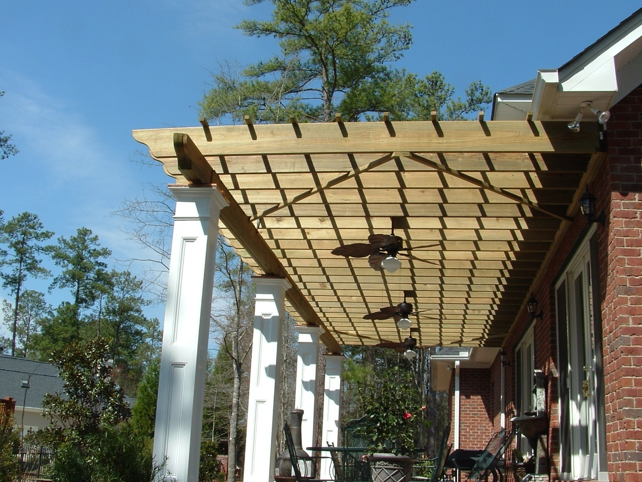 Most Recently Released Beautiful Modern Pergola Designs Features Rectangle Shape Brown With Outdoor Ceiling Fans For Pergola (View 9 of 20)