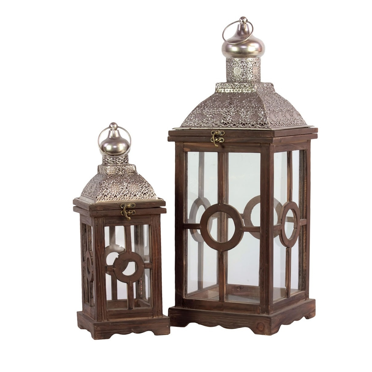 Most Recently Released Cheap Outdoor Lanterns With Set Of Wooden Outdoor Lanterns – Patio Furniture Co (View 19 of 20)
