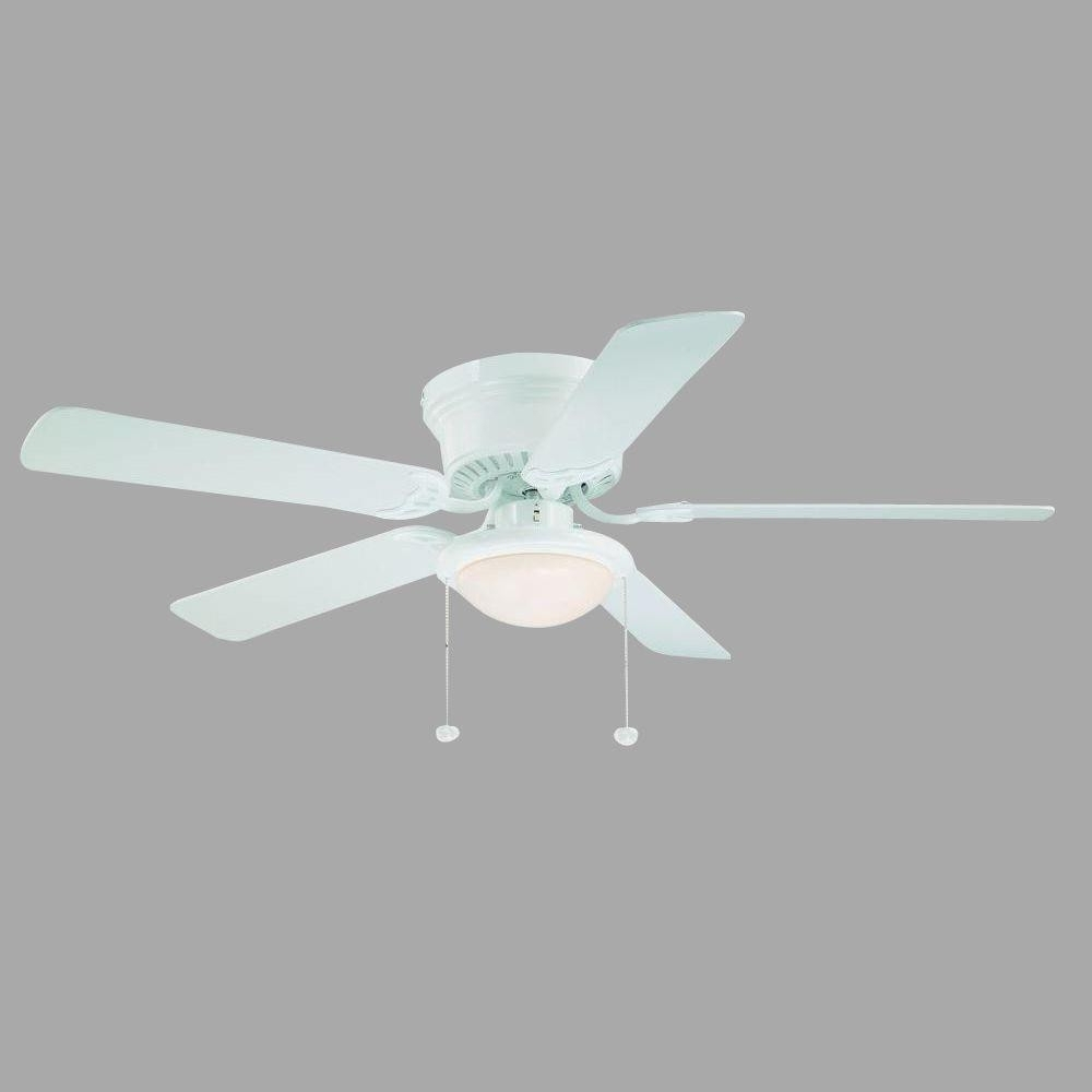 Most Recently Released Hampton Bay Hugger 52 In White Ceiling Fan With Light Good Kitchen With Outdoor Ceiling Fans With Schoolhouse Light (View 11 of 20)