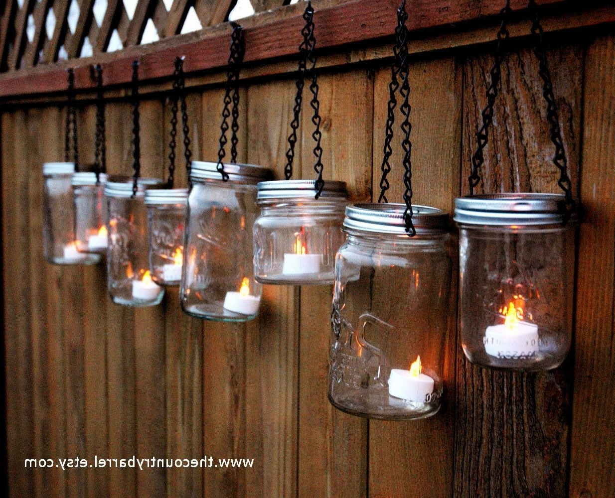 Most Recently Released Mason Jar Lanterns Hanging Tea Lightthecountrybarrel On Etsy With Etsy Outdoor Lanterns (View 3 of 20)