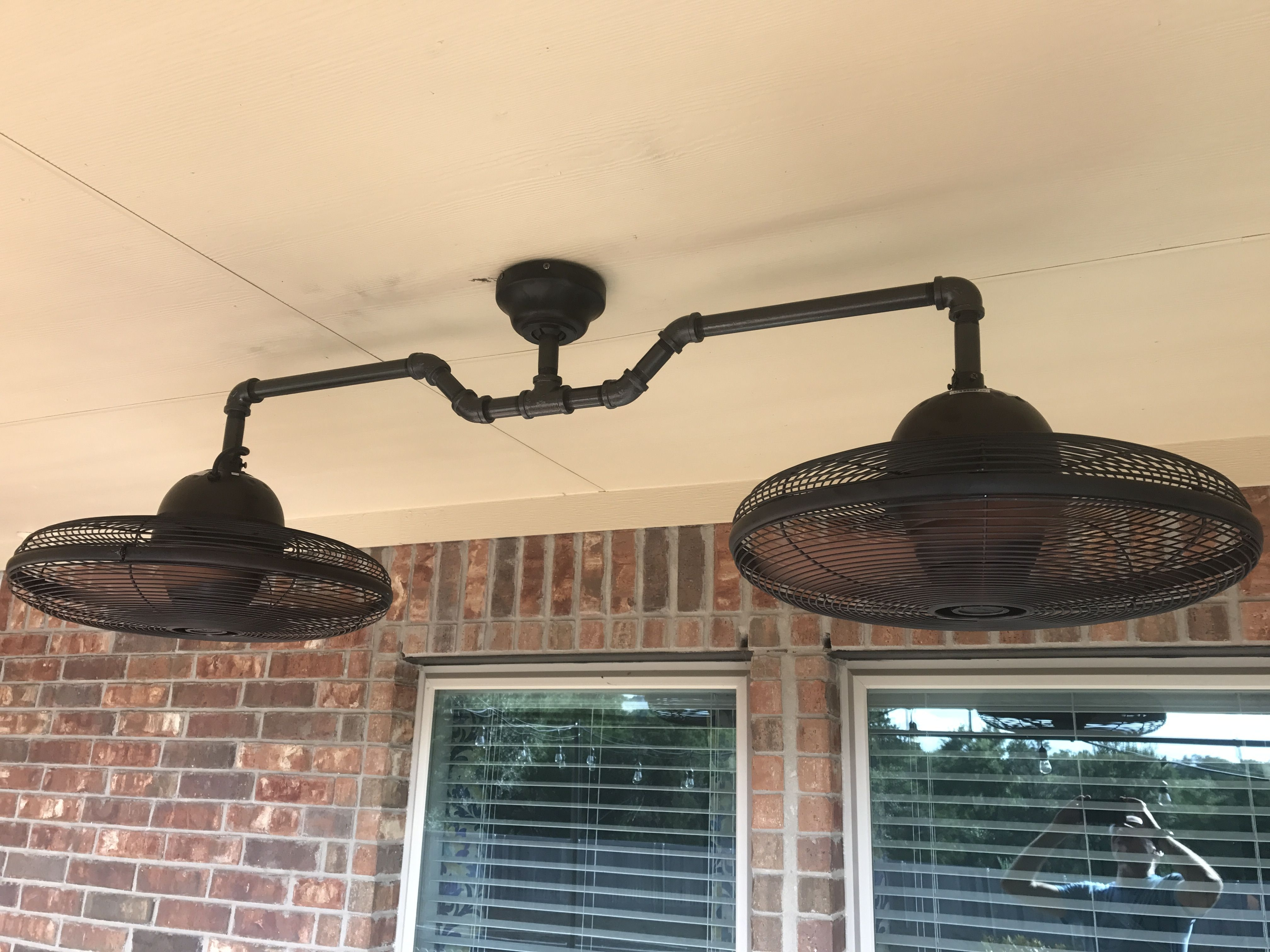 Most Recently Released Outdoor Ceiling Fans With Guard Pertaining To Diy Dual Ceiling Fan Made From Black Iron Pipe And Lowes Allen + (View 13 of 20)