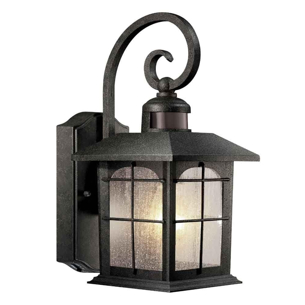 Most Recently Released Outdoor Pir Lanterns Pertaining To Hampton Bay 180 Degree 1 Light Aged Iron Outdoor Motion Sensing Wall (View 8 of 20)