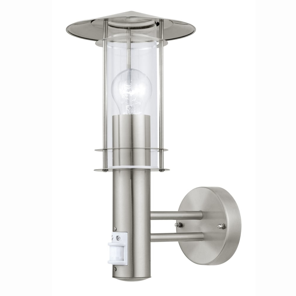 Most Up To Date Eglo 30185 Lisio Pir Outdoor Ip44 Stainless Steel Wall Light Pertaining To Outdoor Lanterns With Pir (View 6 of 20)