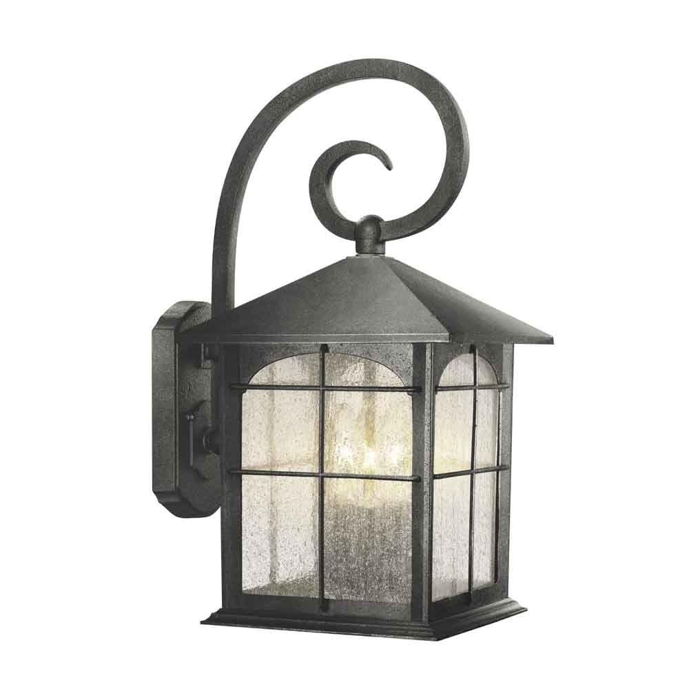 Most Up To Date Outdoor Iron Lanterns Within Home Decorators Collection Brimfield 3 Light Aged Iron Outdoor Wall (View 6 of 20)
