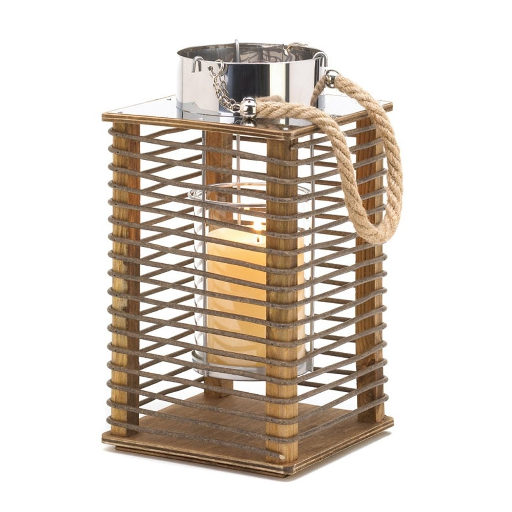 Most Up To Date Outdoor Wood Lanterns Inside Wood Candle Lantern, Outdoor Rustic Decor Hudson Wooden Lantern (View 9 of 20)
