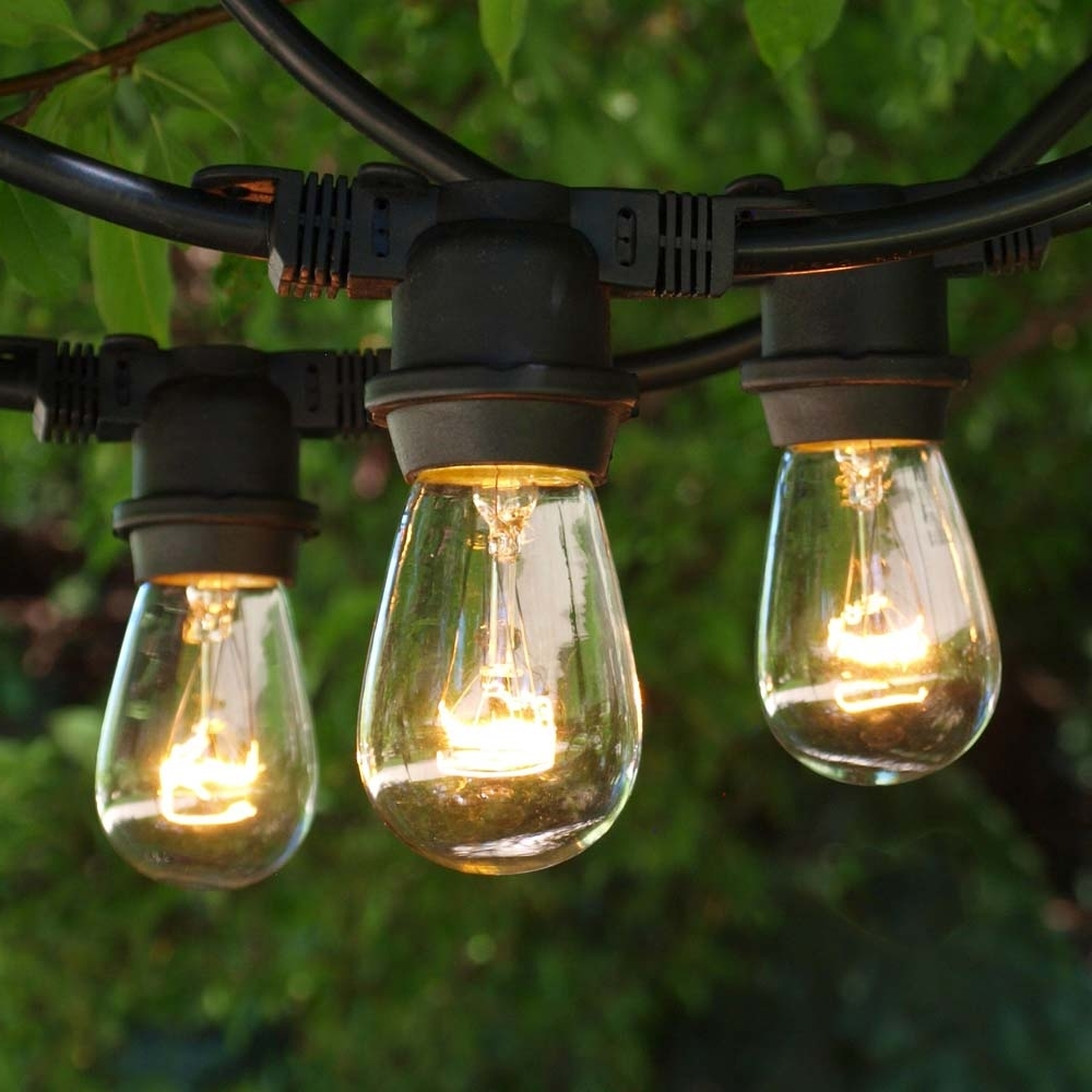 Most Up To Date Popular Outdoor String Lights, 100' Black & 11S14 Clear Bulbs Regarding Outdoor String Lanterns (View 10 of 20)