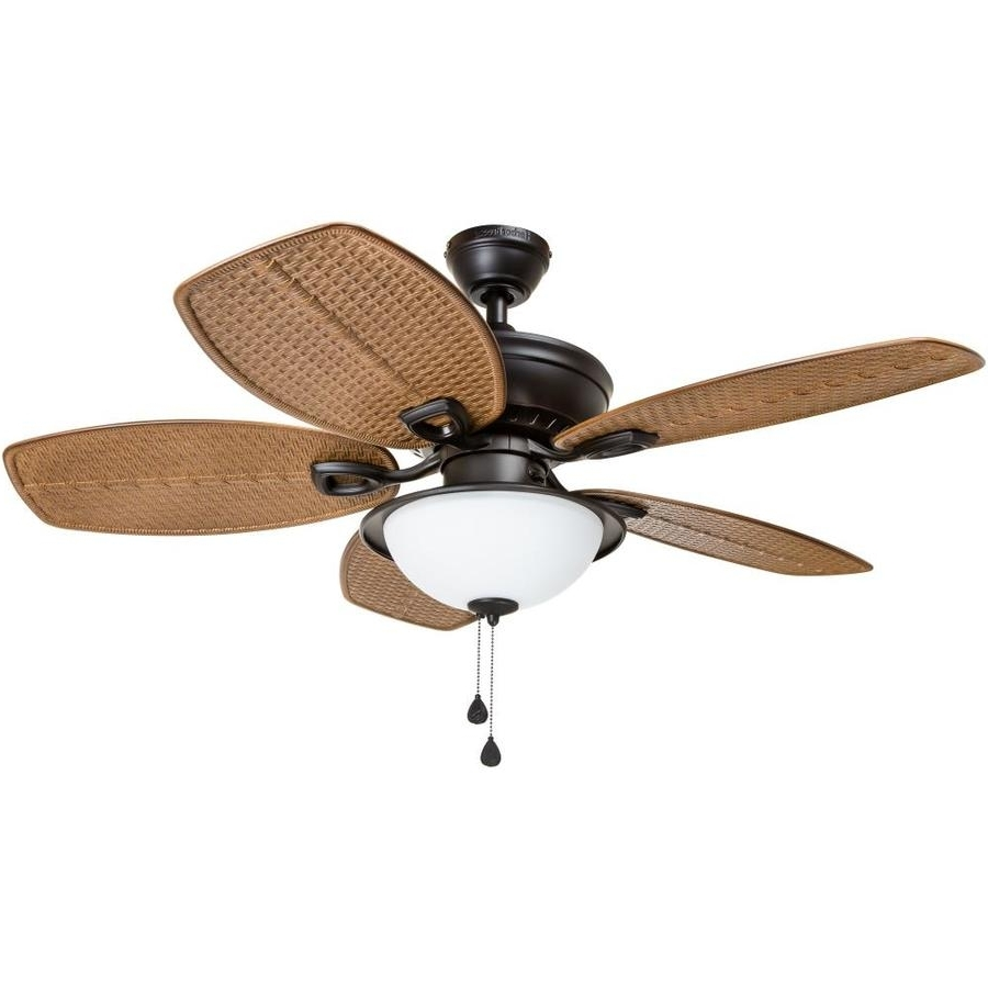 Most Up To Date Tropical Design Outdoor Ceiling Fans With Regard To Shop Harbor Breeze Cedar Shoals 44 In Oil Rubbed Bronze Indoor (View 8 of 20)