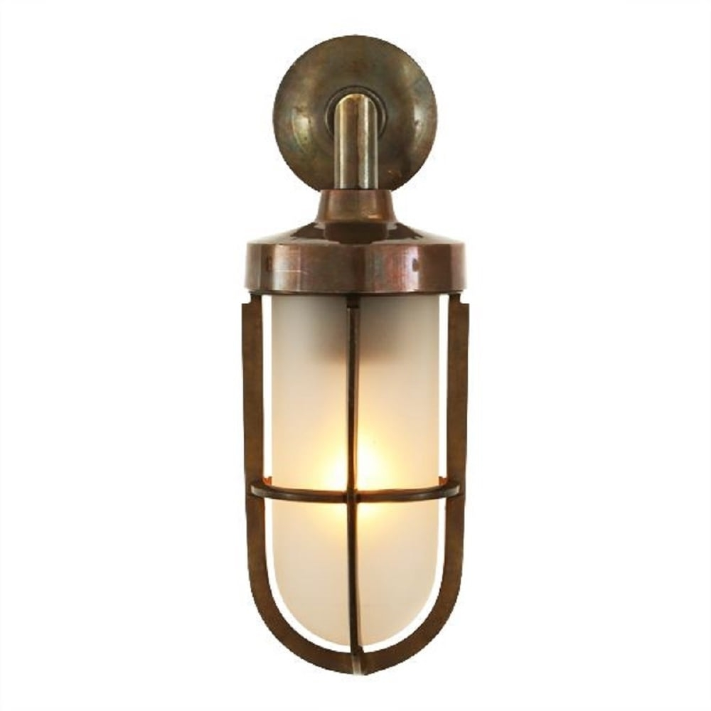Nautical Design Solid Antique Brass Wall Light With Frosted Glass Shade Regarding Most Current Industrial Outdoor Lanterns (View 12 of 20)
