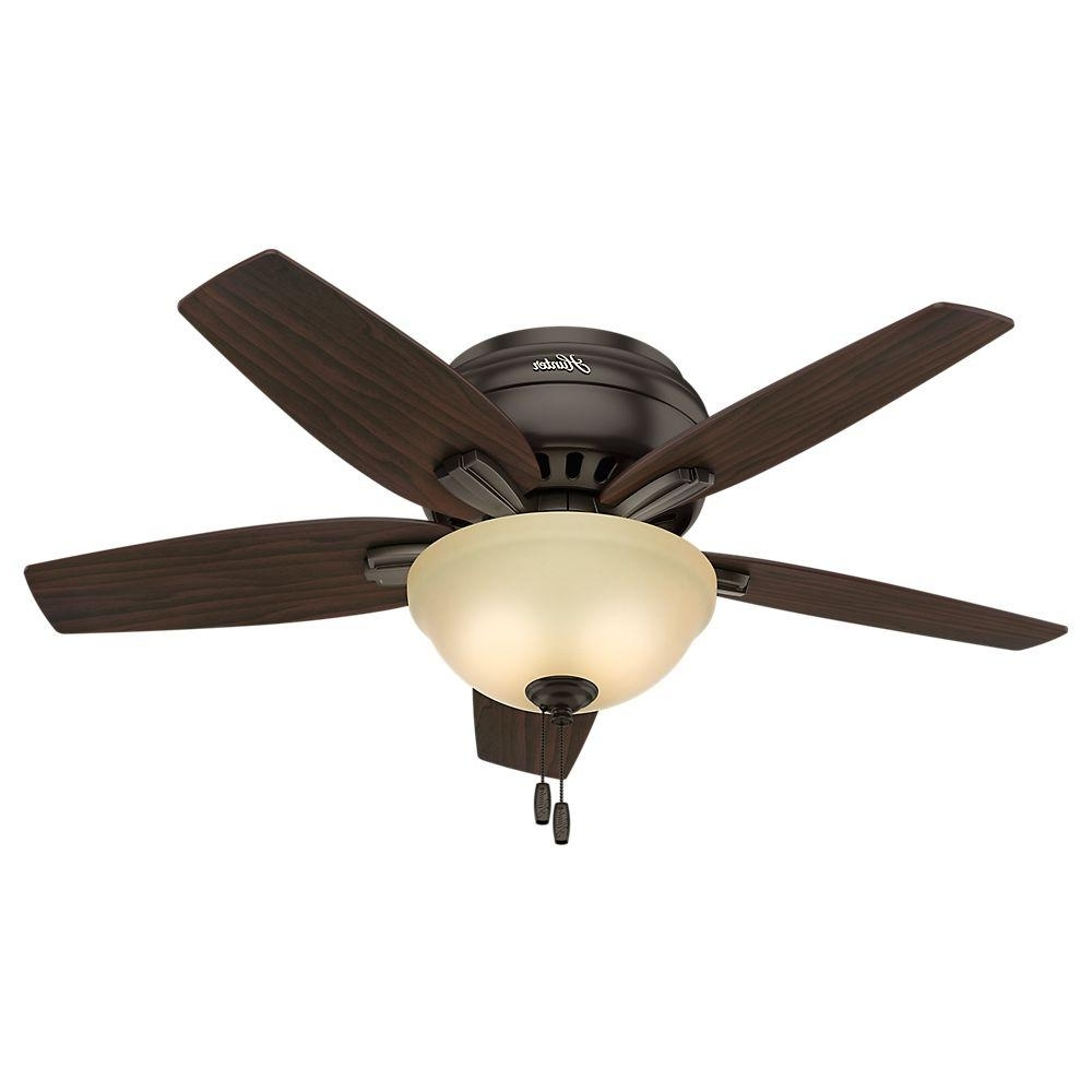 Newest 42 Inch Outdoor Ceiling Fans Regarding Hunter Newsome 42 In. Indoor Low Profile Premier Bronze Ceiling Fan (Gallery 18 of 20)