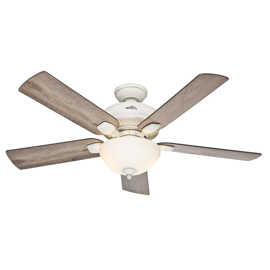Newest 52 Inch Outdoor Ceiling Fans With Lights Pertaining To Shop Hunter Matheston 52 In Cottage White Indoor/outdoor Ceiling Fan (Gallery 14 of 20)