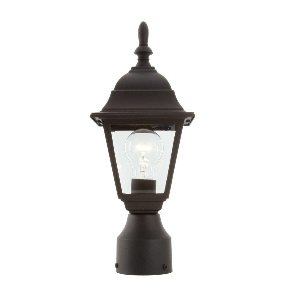 Newest Hampton Bay 1 Light Black Outdoor Lamp Hb7026P 05 – The Home Depot Pertaining To Outdoor Lamp Lanterns (Gallery 13 of 20)