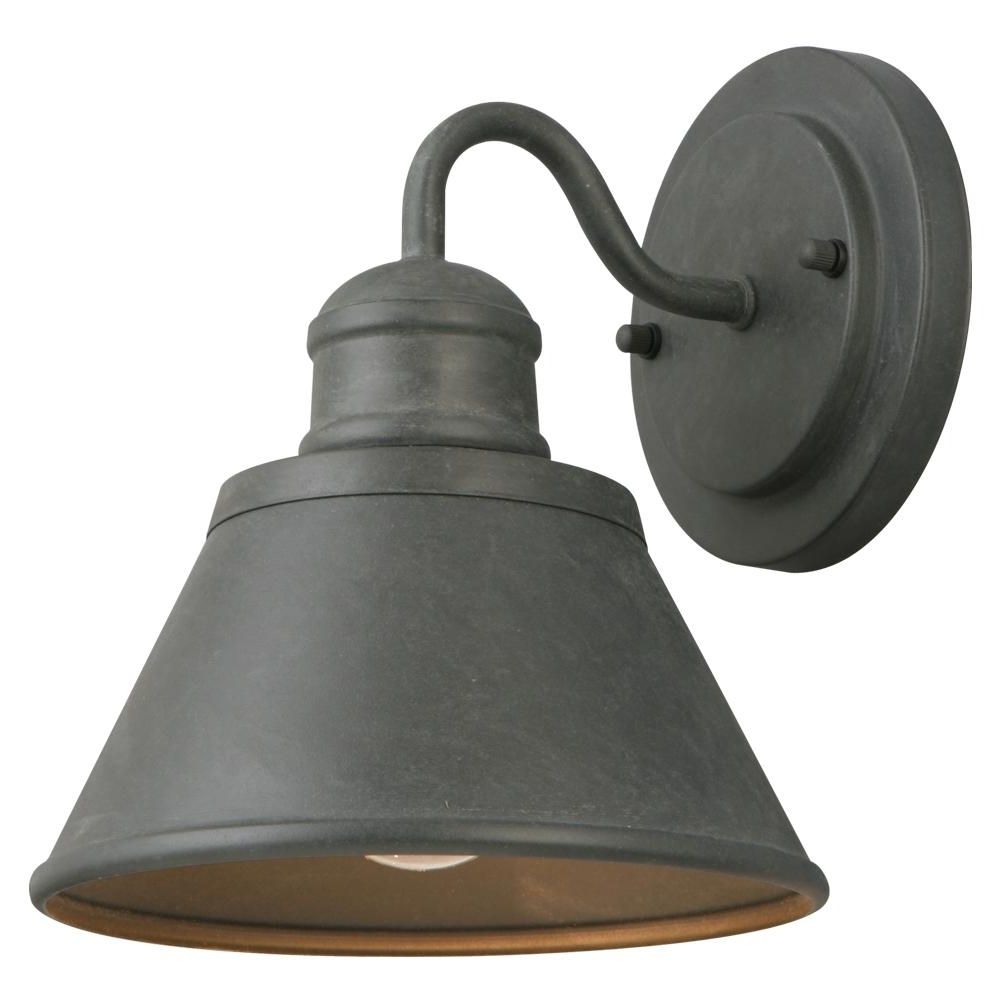 Newest Hampton Bay 1 Light Zinc Outdoor Wall Lantern Hsp1691A – The Home Depot For Outdoor Exterior Lanterns (Gallery 11 of 20)
