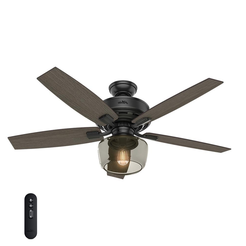 Newest Hunter Bennett 52 In. Led Indoor Matte Black Ceiling Fan With Globe Intended For Outdoor Ceiling Fans With Led Globe (Gallery 16 of 20)