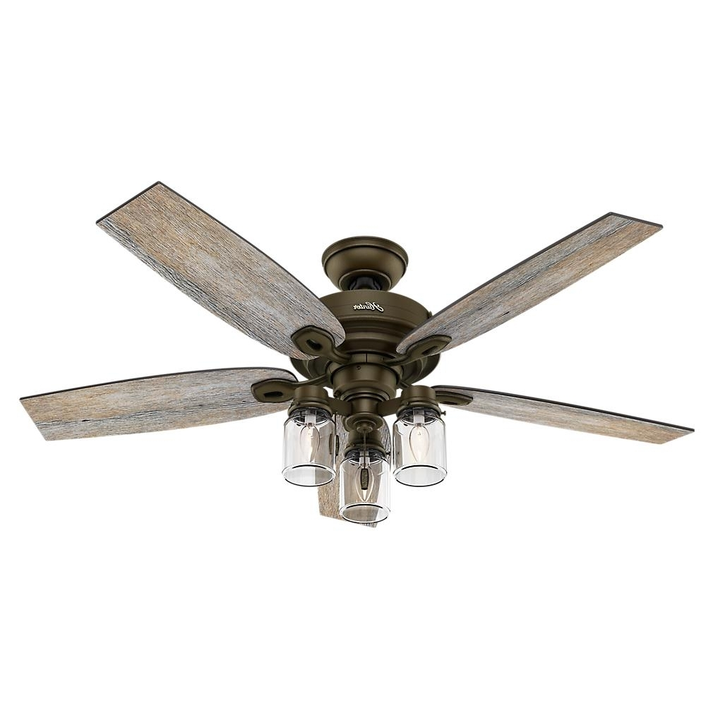 Newest Hunter Crown Canyon 52 In. Indoor Regal Bronze Ceiling Fan 53331 Within Outdoor Ceiling Fans With Mason Jar Lights (Gallery 3 of 20)