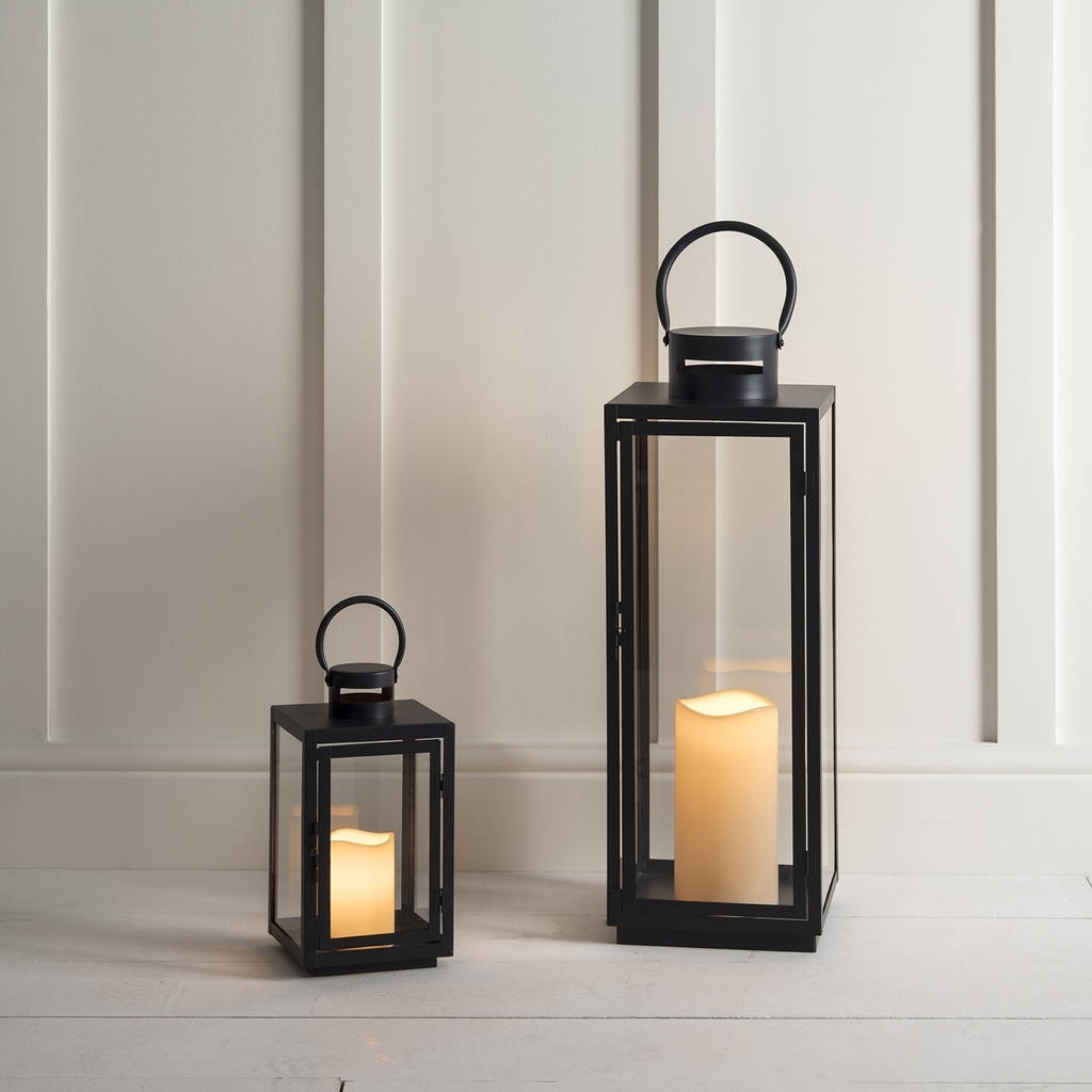 Newest Malvern Outdoor Battery Candle Lantern Setlights4Fun Pertaining To Outdoor Indian Lanterns (Gallery 19 of 20)