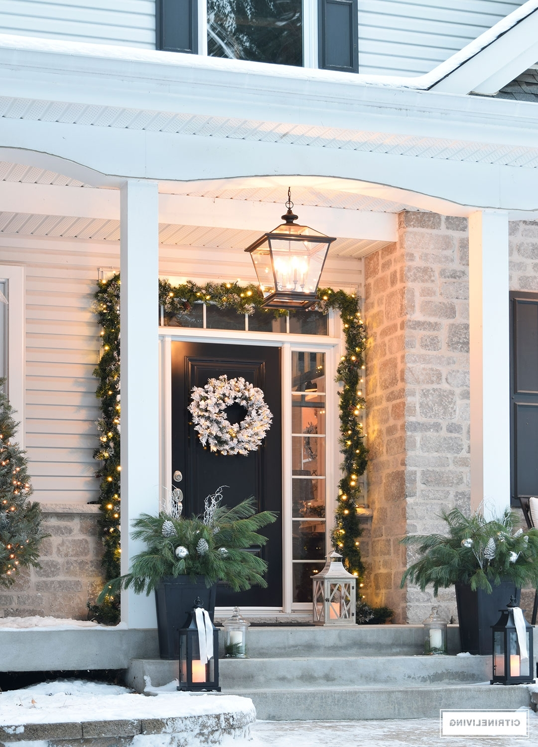 Newest Outdoor Lanterns For Front Porch Throughout Citrineliving Outdoor Christmas Decor And New Lighting (View 19 of 20)