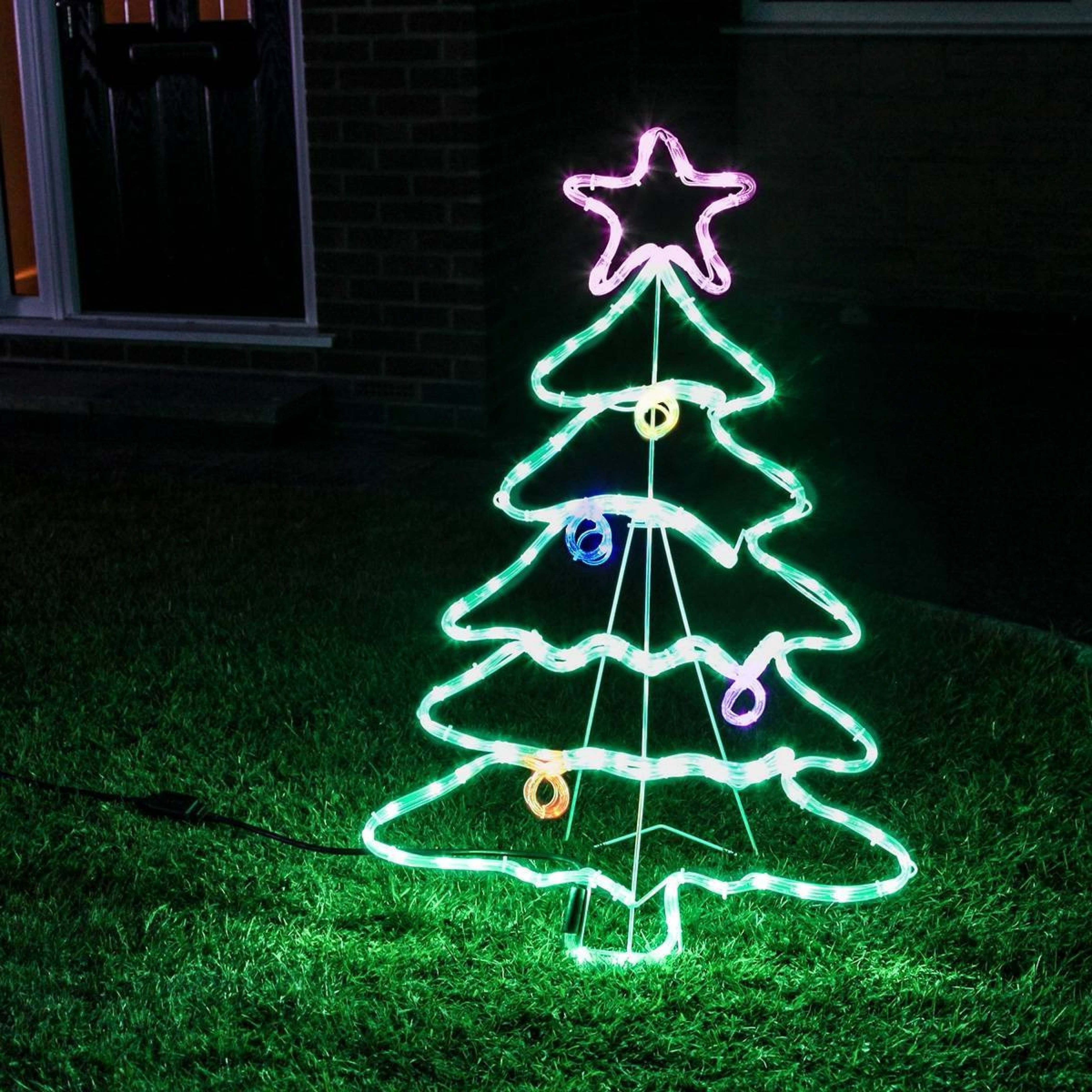Newest Outdoor Rope Light Christmas Tree Motif, Multi Coloured Twinkling Leds Within Outdoor Christmas Rope Lanterns (View 10 of 20)