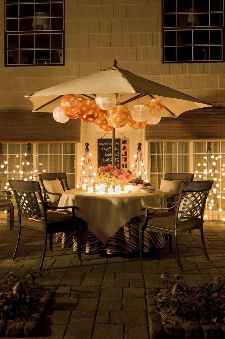 Newest Outdoor Umbrella Lanterns Within Pro Tip: No Need To Take Your Patio Umbrella Down For An Evening (Gallery 8 of 20)