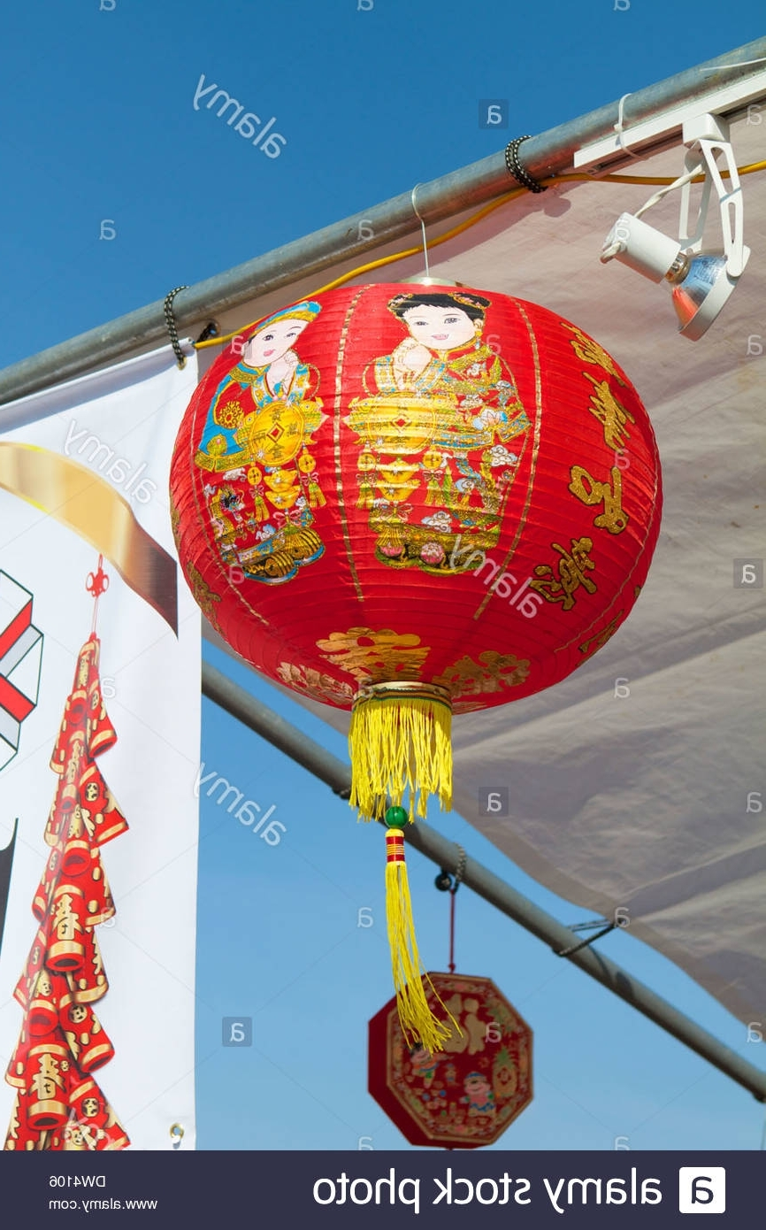 Newest Outdoor Vietnamese Lanterns With Vietnamese Chinese Lanterns Hanging Outside Market Stalls At A Stock (View 9 of 20)