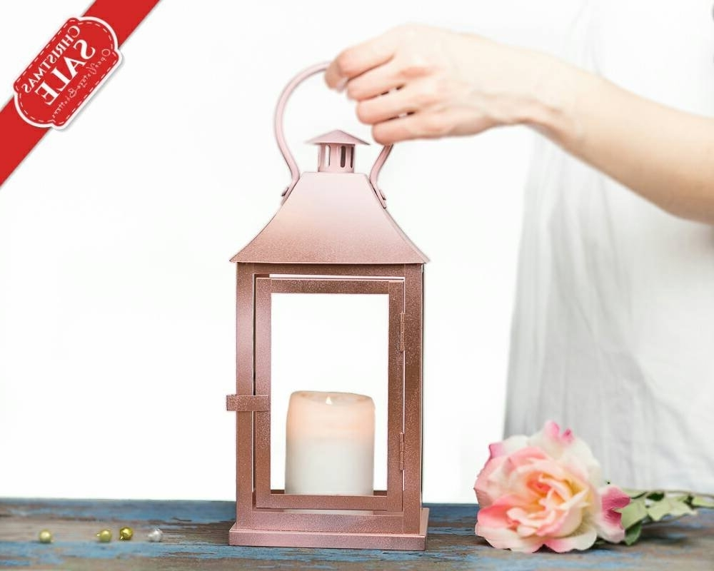 Newest Rose Gold Lantern Centerpiece Rose Gold Wedding Decor Pink (Gallery 1 of 20)