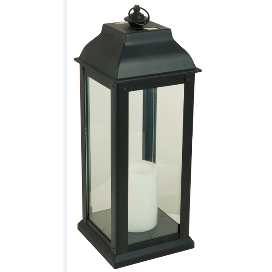 Newest Shop 5.94 In X 16 In Black Glass Solar Outdoor Decorative Lantern At Throughout Outdoor Rustic Lanterns (Gallery 4 of 20)