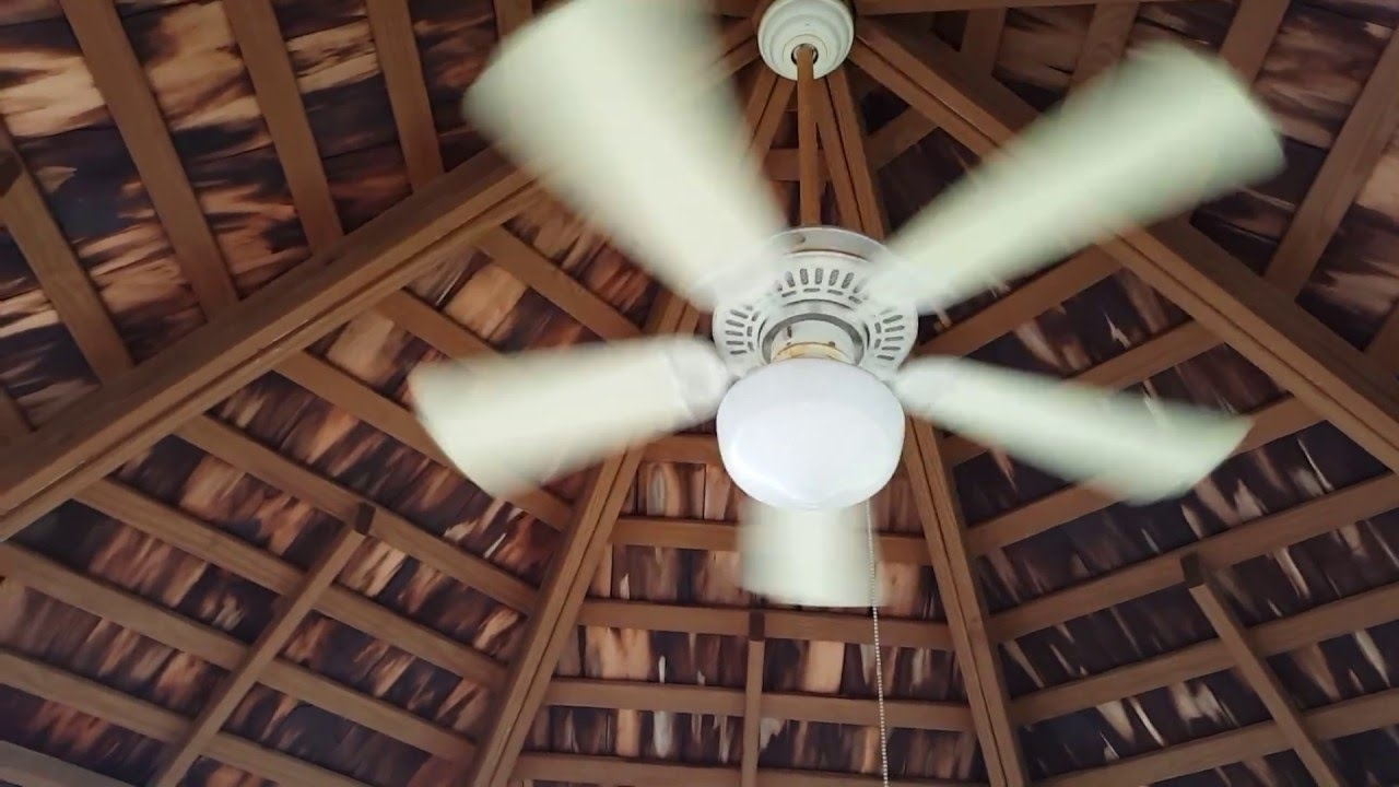 "Newest Smaller (42"") Hampton Bay Gazebo Ceiling Fan At My Neighbor's Patio Throughout Outdoor Ceiling Fans For Gazebo (View 18 of 20)"