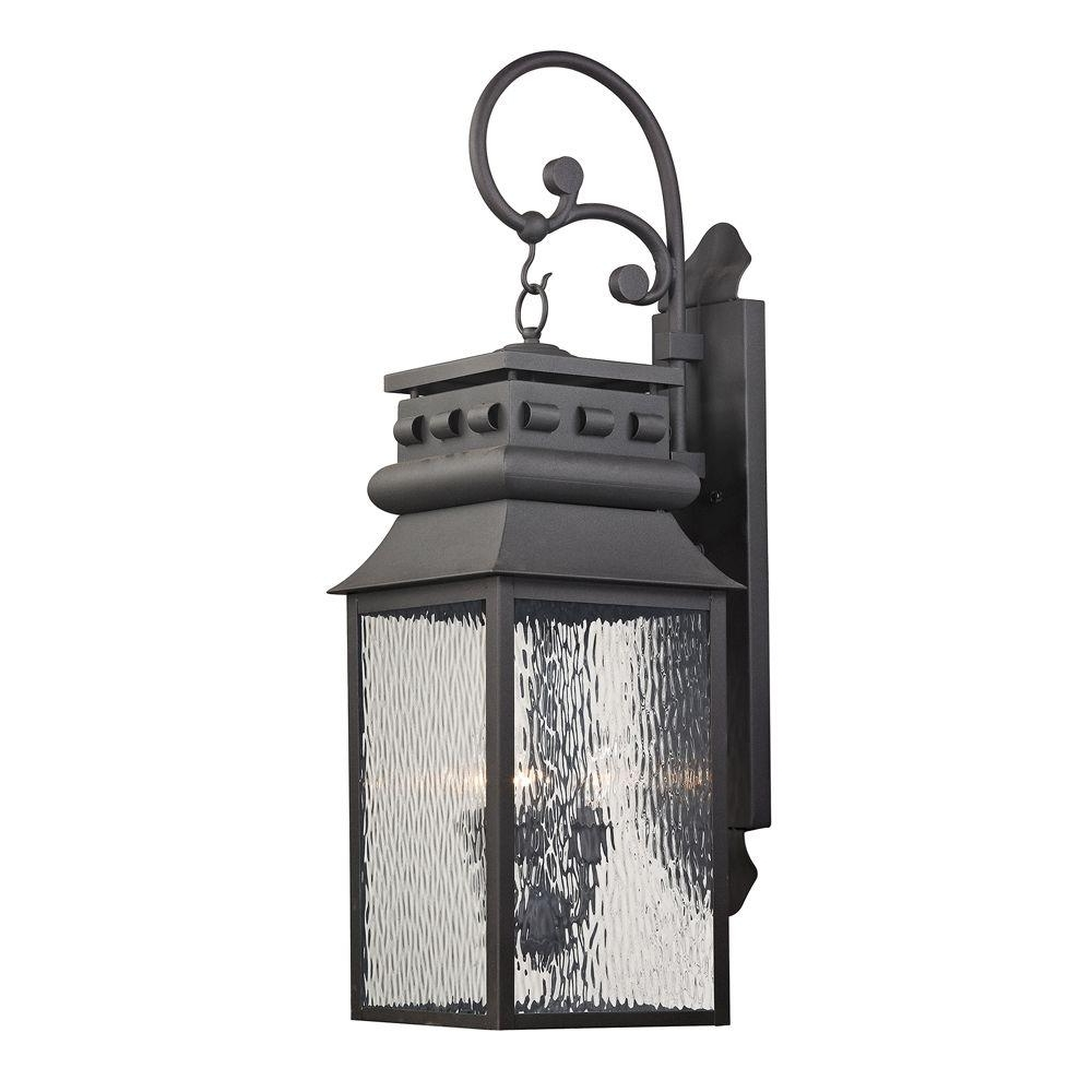 Newest Titan Lighting Georgetown Collection 3 Light Charcoal Outdoor Sconce Throughout Jumbo Outdoor Lanterns (Gallery 8 of 20)