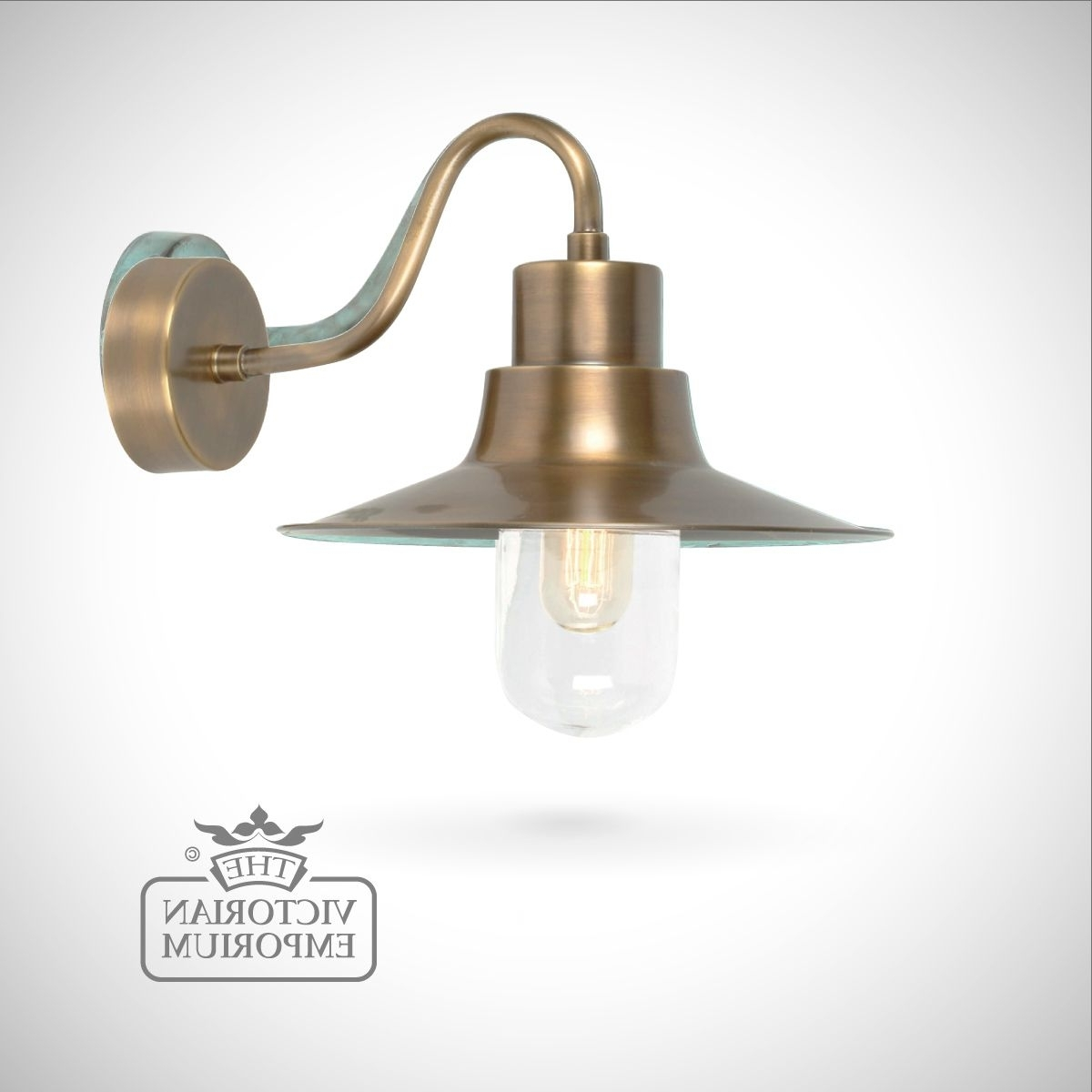 Newest Victorian Outdoor Lanterns Inside Sheldon Wall Lantern – Brass (View 9 of 20)