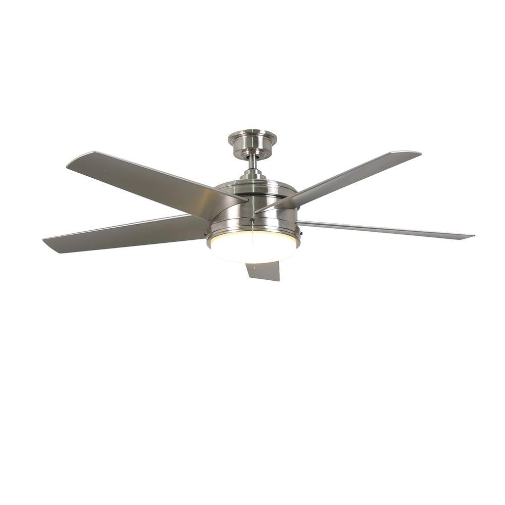 Nickel Outdoor Ceiling Fans Regarding Newest Home Decorators Collection Portwood 60 In Led Indoor, Home Depot (View 13 of 20)